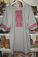 """Платье лен-габардин """"красные розы"""", платье машинной вышивки от изготовителя модель ВГ01"""