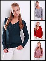 44-50 размер Красивый джемпер 8819 женский ажурный теплый шерстяной однотонный зимний светлый удлиненный яркий