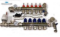 """Коллектор  хром для тёплого пола GROSS 3/4""""х1""""х7 выход предварительно собранный, с смесительным узлом и евроконусами"""
