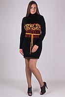 Красивое вязанное платье Бамбук черный - желтый