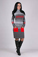 Теплое женское платье Мулине серый меланж - алый