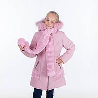 """Зимняя куртка для девочки """"Эля """", розовый, 6-11 лет"""
