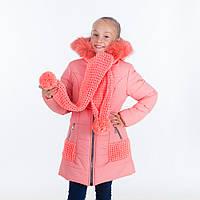 """Зимняя куртка для девочки """"Эля """", персик, 6-11 лет"""