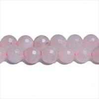 Розовый Кварц, Натуральный камень, На нитях, бусины 8 мм, Граненый Шар, Отверстие 1 мм, кол-во: 47-48 шт/нить