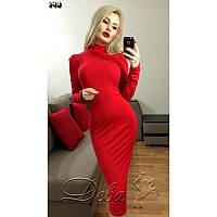 Платье из вискозы с плечами и горлом №145 Размер:L - (46); Цвет:Красный