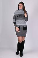 Модное платье Мулине серый меланж - черный