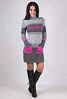 Молодежное платье Мулине серый меланж - малина