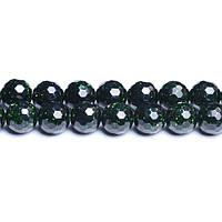 Зелёный Авантюрин (Голдстоун), Натуральный камень, 8 мм, Граненый Шар, Отверстие 1 мм, кол-во: 47-48 шт/нить