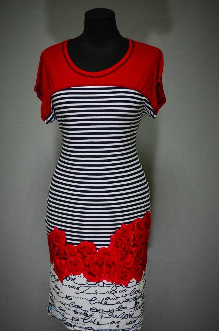 """Оригинальное женское платье  """"ткань 100% хлопок"""" 46 размер норма красный"""