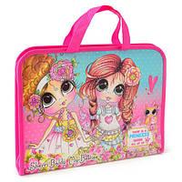 """Папка-портфель на молнии с тканевыми ручками """"Princess"""""""