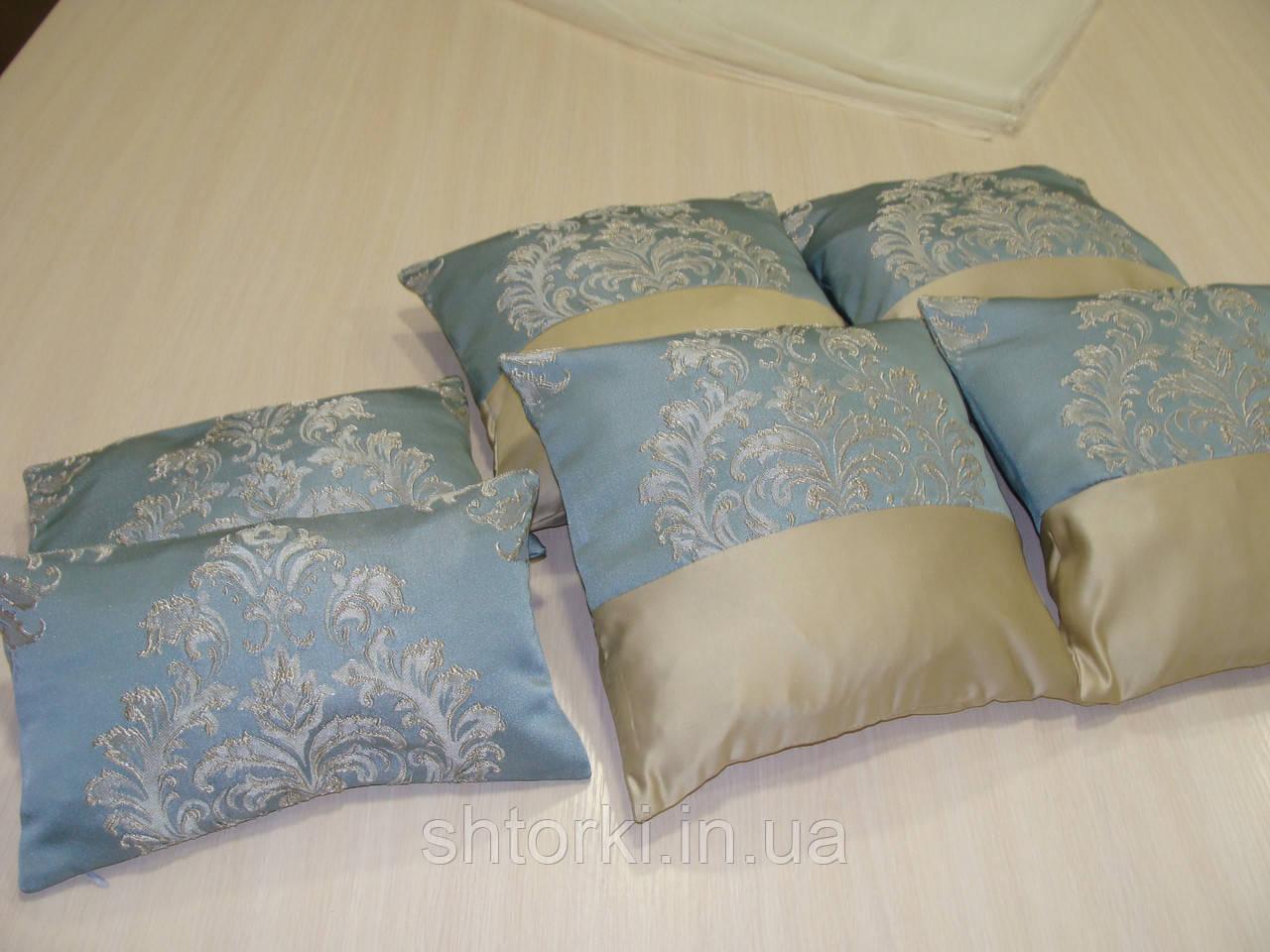 Комплект подушек  голубые с песочным, 6 шт
