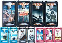 Силиконовый чехол с кожаной накладкой Glamour для Prestigio MultiPhone 4322 Duo