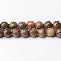 Цветочный Агат Граненый, Натуральный камень, На нитях,  8 мм, Граненый Шар, Отверстие 1 мм, кол-во: 48 шт/нить