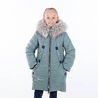 """Зимнее пальто для девочки """"Блюмарин """",цвет серо-голубой, 34-42 размеры"""