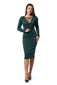 Платье Алевтина 0273_3 Тёмно-зелёное