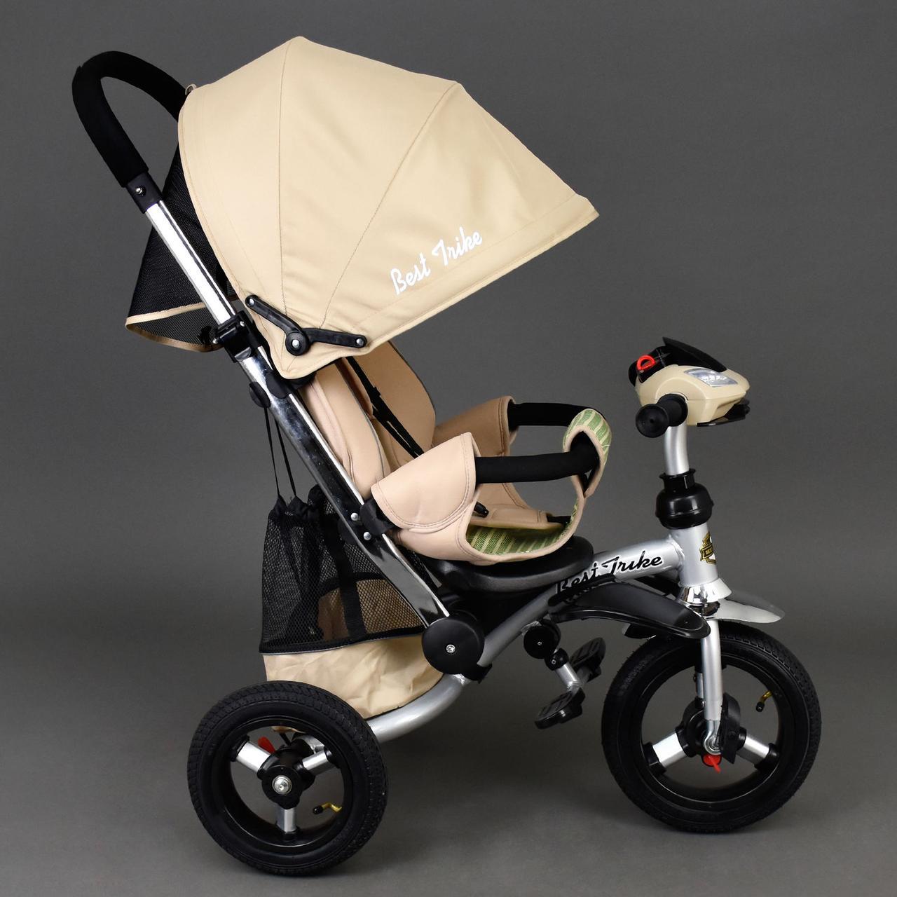 Детский трехколесный велосипед Best Trike 698 Бежевый, надувные колеса
