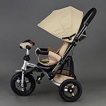 Детский трехколесный велосипед Best Trike 698 Бежевый, надувные колеса , фото 2