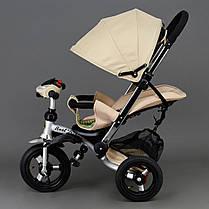 Детский трехколесный велосипед Best Trike 698 Бежевый, надувные колеса , фото 3