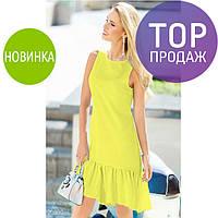Женское летнее платье мини с воланом, воздушное, разные цвета / женское красивое платье, короткое, без рукавов