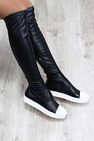 Демисезонные кожаные сапоги чулки черные