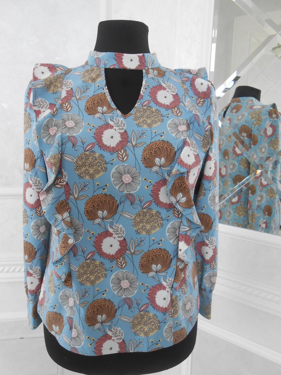 Блуза жіноча шовкова голуба в кольорах великого розміру 50