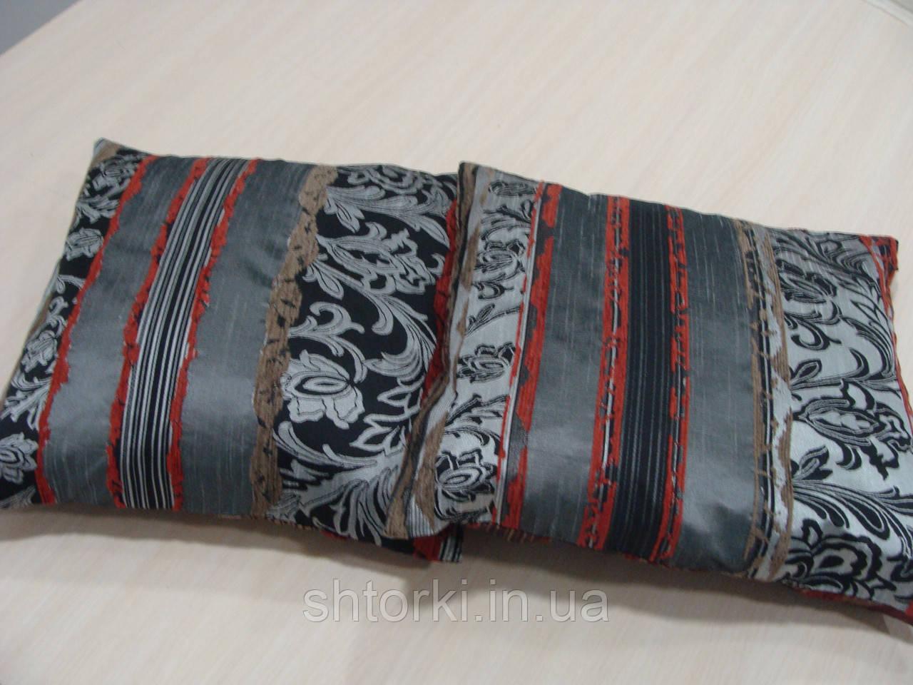 Комплект подушек Рельеф серебро и бордо , 2 шт
