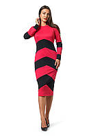 Платье Зоряна 0275_2 Красное с чёрным