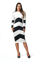 Платье Зоряна 0275_5 Белое с чёрным