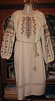 Платье лен молочного цвета с кружевом, платье машинной вышивки от изготовителя модель ВГ03