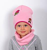 Обезьянка. Двойная детская шапка, хлопок. р.48-52 (2-5 лет) фиол, т.син, белый, т.роз, молоко, св.коралл, роз., фото 1
