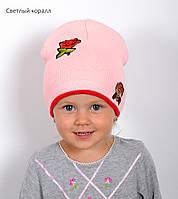 007 Обезьянка. Двойная детская шапка, хлопок. р.48-52 (2-5 лет) св.коралл, белый, фото 1