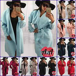 Пальто с запАхом, удлиненное, 10 цветов, кашемировое, с поясом