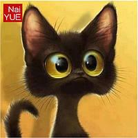 Алмазная вышивка черный котенок с большими глазами, 15х15 см