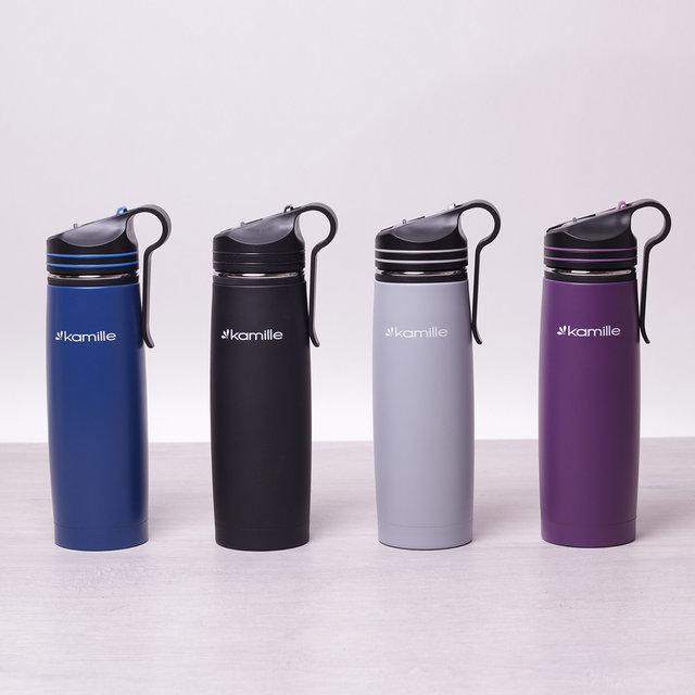 Спортивный термос-бутылка из нержавеющей стали с трубочкой и клипсой на 500 мл Kamille a2058