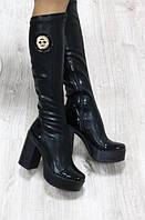 Сапоги чулки на каблуке черная кожа