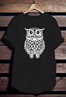 """Черная футболка мужская с Совой """"Owl"""" с принтом спортивная удлиненнаяхлопок"""