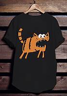 """Черная футболка мужская с котом """"Кот бегемот"""" с принтом спортивная удлиненнаяхлопок"""