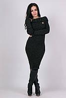 Женское вязанное платье Ксюша черный меланж