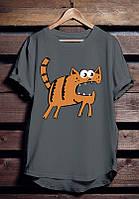 """Серая футболка мужская с котом """"Кот бегемот"""" с принтом спортивная удлиненнаяхлопок"""