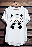 """Белая футболка мужская с Пандой """"Panda"""" с принтом спортивная удлиненнаяхлопок"""