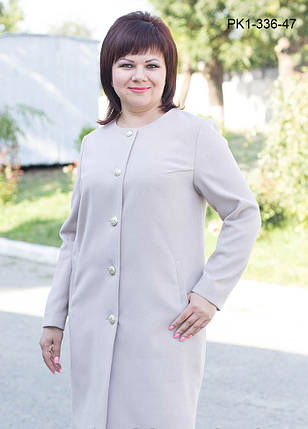 Женское кашемировое пальто цвет светло серый размер 50-58, фото 2