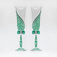 Свадебные бокалы в мятных тонах с росписью (арт.WG-004)