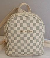 Рюкзак женский Louis Vuitton, бежевый в серую клетку Луи Виттон