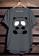 """Серая футболка мужская с Пандой """"Panda"""" с принтом спортивная удлиненнаяхлопок"""