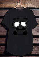 """Черная футболка мужская с Пандой """"Panda"""" с принтом спортивная удлиненнаяхлопок"""