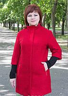 Женское полупальто полуприлегающего силуэта из шерстяной ткани – букле цвет красный размер 52-58