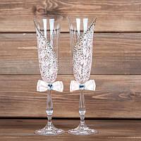 Свадебные бокалы в персиковом цвете (арт.WG-011)