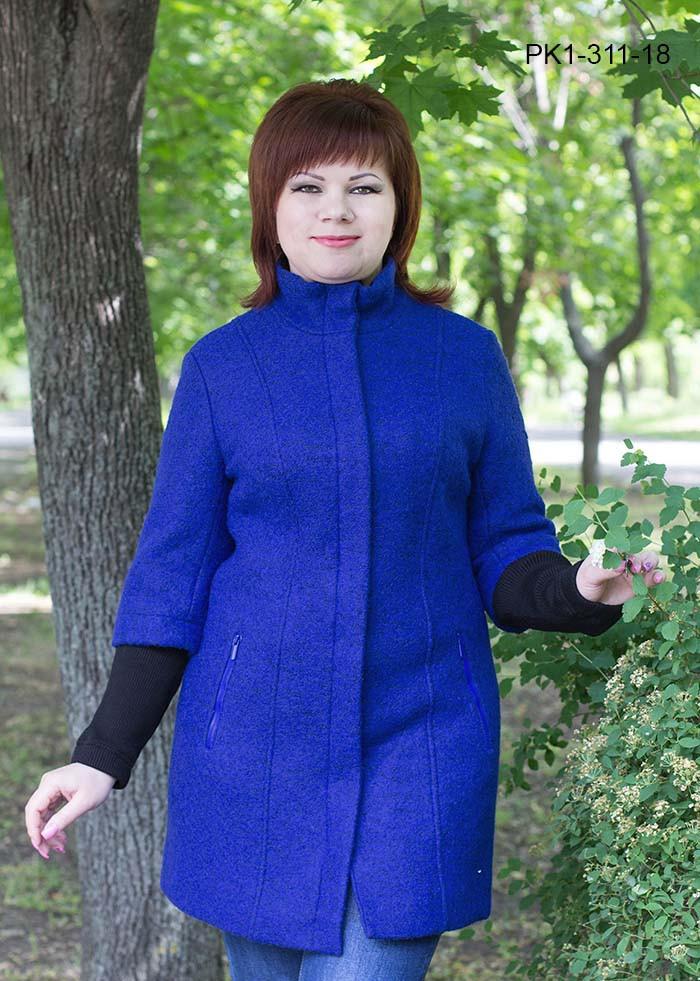 Женское полупальто полуприлегающего силуэта из шерстяной ткани – букле цвет электрик размер 52,56,58