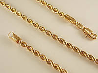 Цепочка Позолота 18к плетение веревка Длина 45см Ширина 3мм