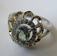 Серебряное кольцо с двухцветным танзанитом (5х7мм)